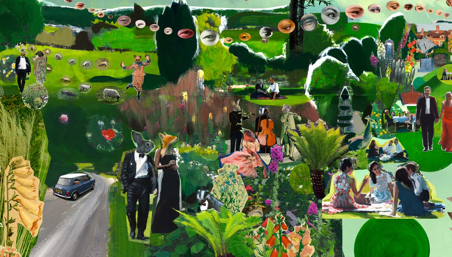 Glyndebourne Festival 2019 cover image showing detail of the painted collage