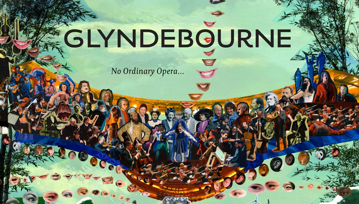 Glyndebourne Festival 2019 cover image showing detail of the sky with opera characters