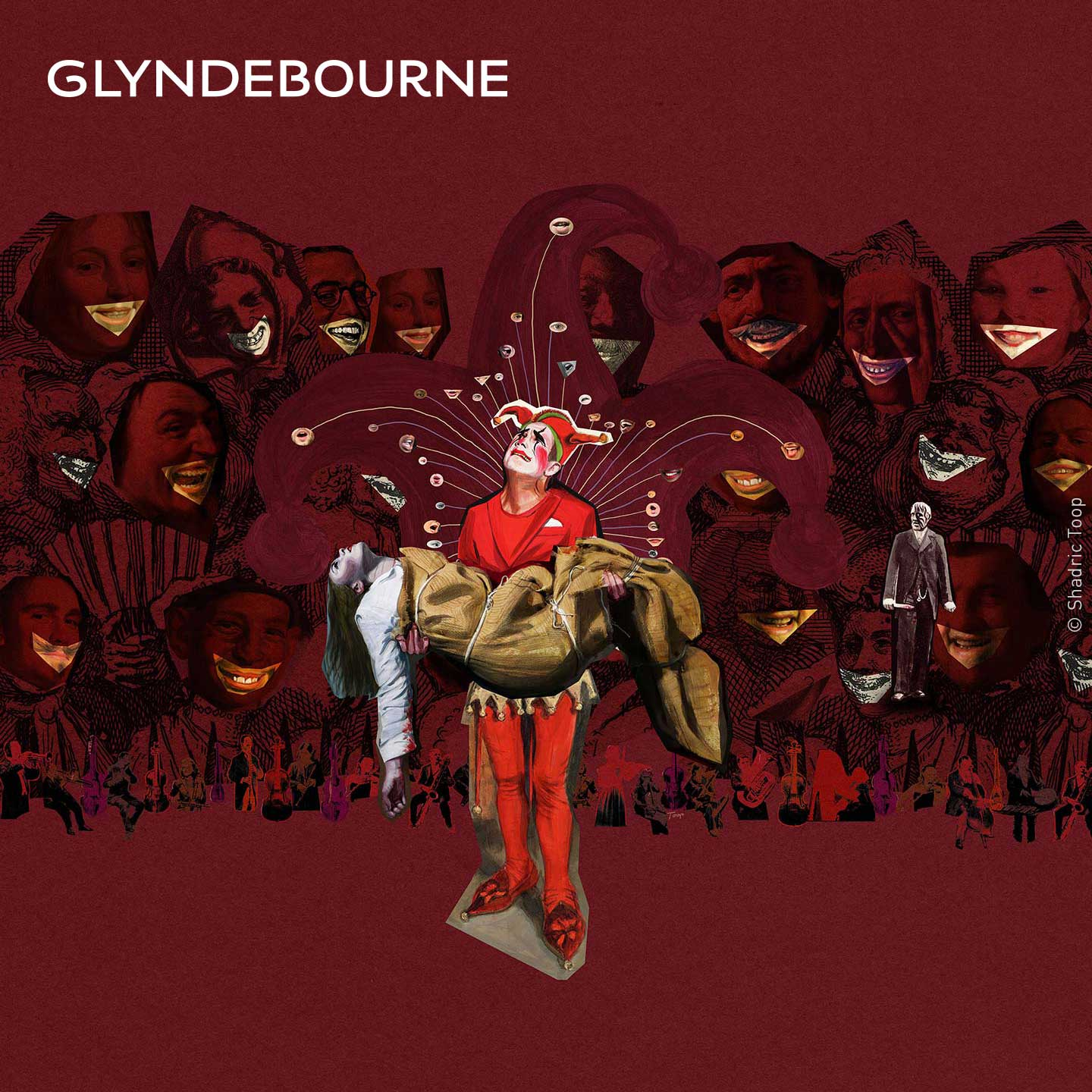 Glyndebourne Tour 2019 brochure Rigoletto spread illustration showing a distressed court jester holding the body of his daughter with strange laughing faces in the background