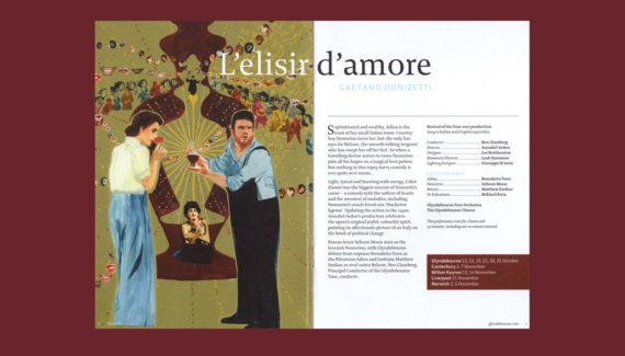 Glyndebourne Tour 2019 brochure L'elisir d'amore spread illustration
