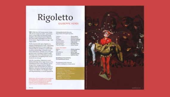 Glyndebourne Tour 2019 brochure Rigoletto spread illustration showing a distressed court jester holding the body of his daughter