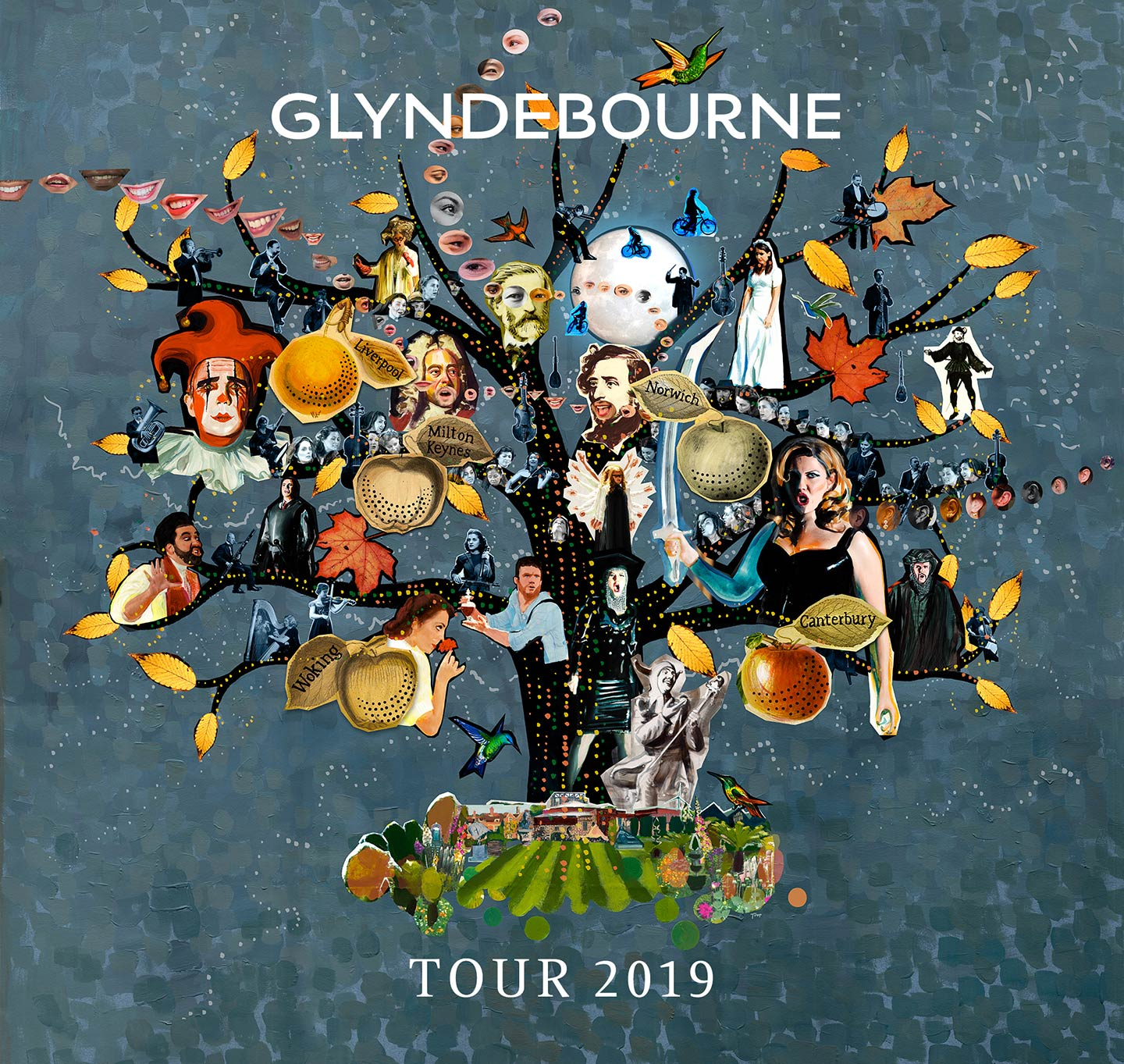 Glyndebourne Tour 2019 illustration featuring a tree with opera characters composers and musicians