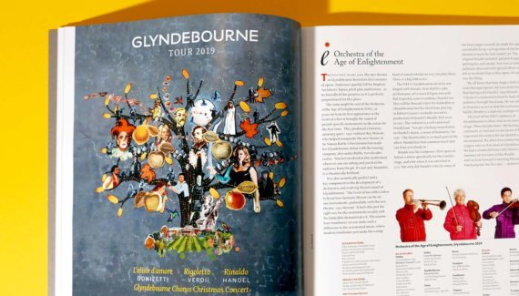 Glyndebourne Tour Ad 2019 illustration showing a tree full of opera characters