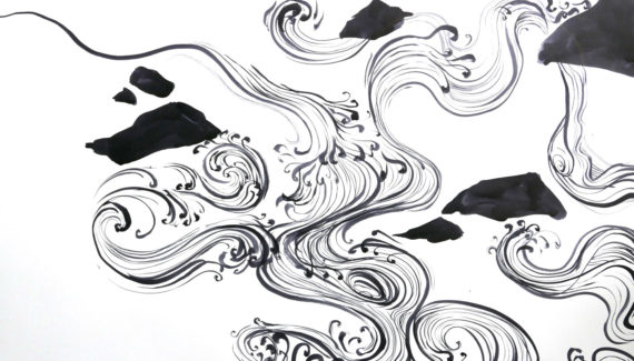 Original ink drawing of a flowing river - detail1 - Shadric Toop