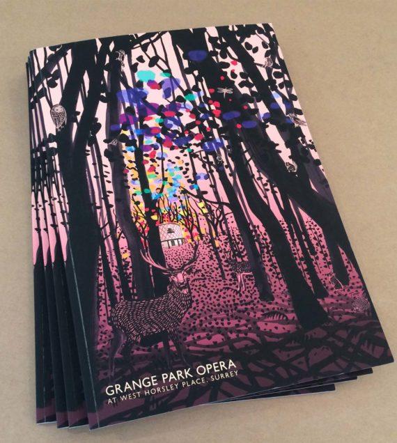Stack of 2019 Programmes showing Illustration - Grange Park Opera - Shadric Toop