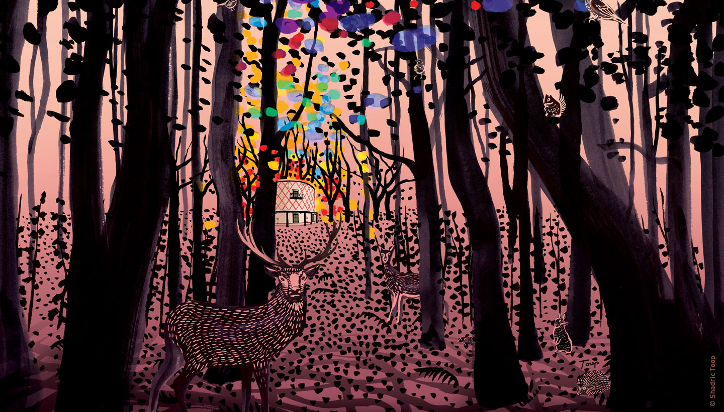 Programme Cover Illustration detail showing an ink drawing of a forest with animals and an opera house in the distance with beautiful colours representing music emanating from the building- Grange Park Opera 2019 - Shadric Toop