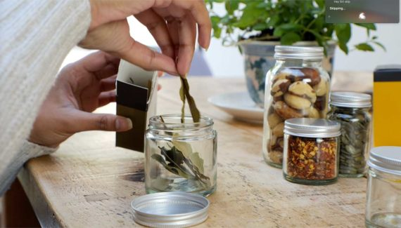 Video with Animation - Georganics - screenshot 10 person reusing a georganics glass jar by filling with bay leaves- Toop Studio