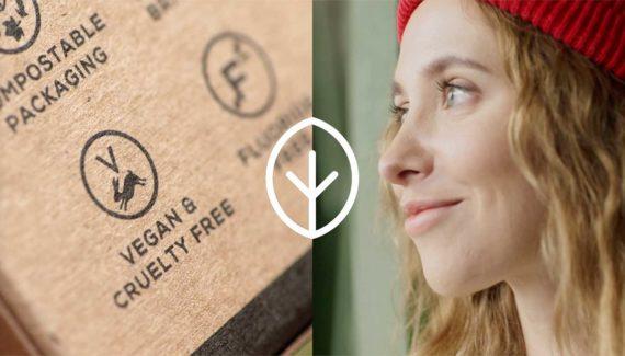 Video with Animation - Georganics - screenshot 15 split screen Vegan logo on packaging on left happy customer on right - Toop Studio