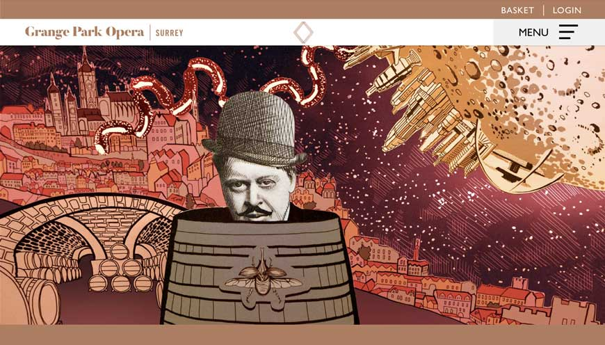 Grange Park Opera illustration The Excursions of Mr Broucek showing main character in a barrel in Prague-with the moon and sausages by Toop Studio