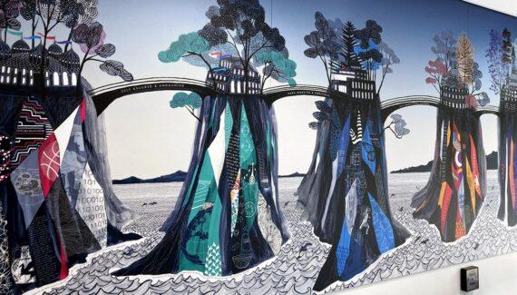 School Wall Mural with 5 islands of learning and six bridges of values - Varndean School - Toop Studio