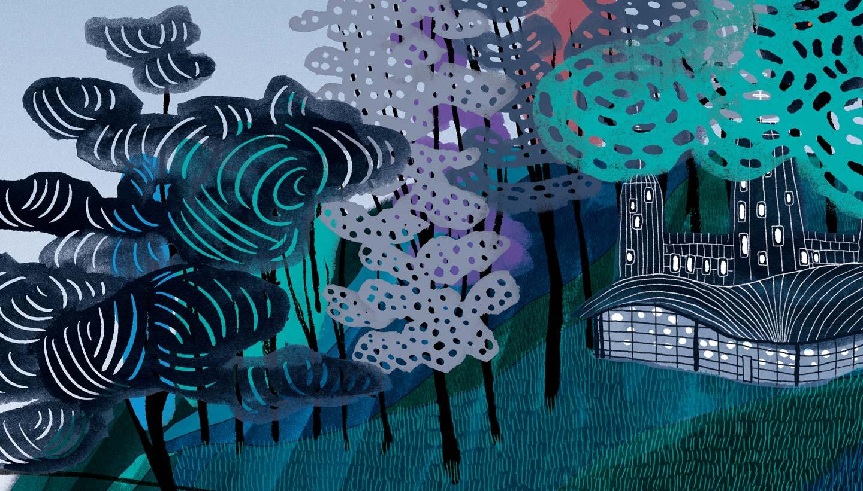 School Wall Mural showing detail of illustration of 5 islands of learning and six bridges of values - Varndean School - Toop Studio