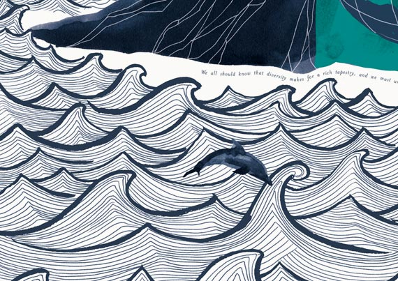 School Wall Mural Varndean illustration detail of the sea and dolphin- Toop Studio