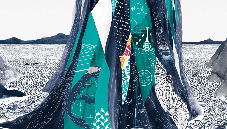 School Wall Mural artwork for Varndean foyer - detail of second island rocks - Toop Studio